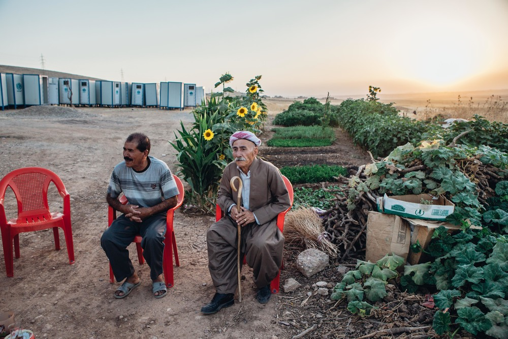Due to lack of space inside the camps and over-crowding,    some displaced Yazidi's live in semi-built houses and structures in the valley's outside the camps.