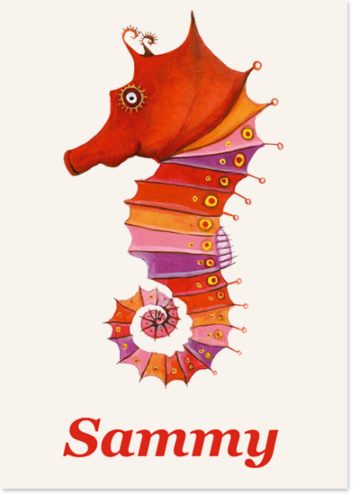 The unusual but much requested seahorse makes his debut also, with orange or pink text.