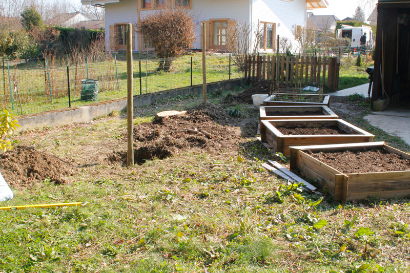 Four new raised garden beds and the holes and poles await the arrival of the fruit trees.