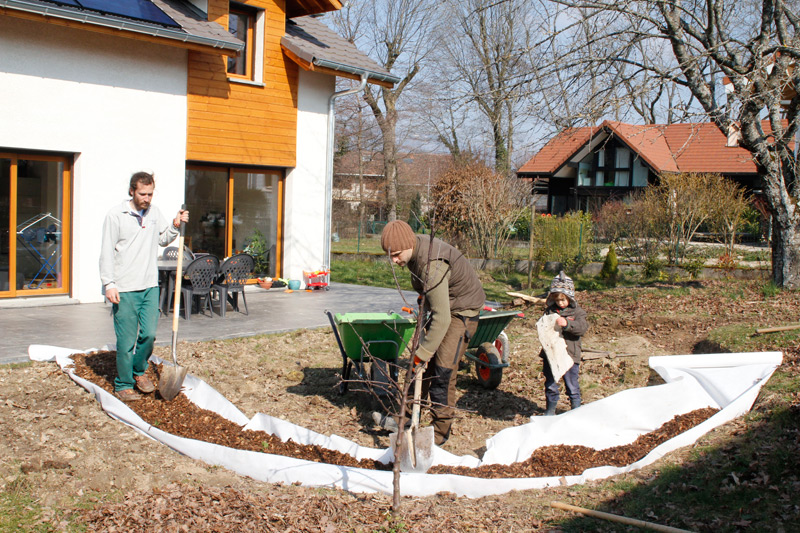 Creating the garden path for the small people and the gardeners.