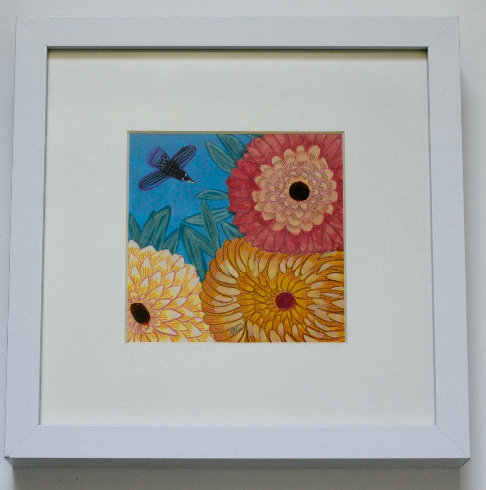 FLOWERS + BIRD 1 - 12x12cm gouache and pencil on paper €45