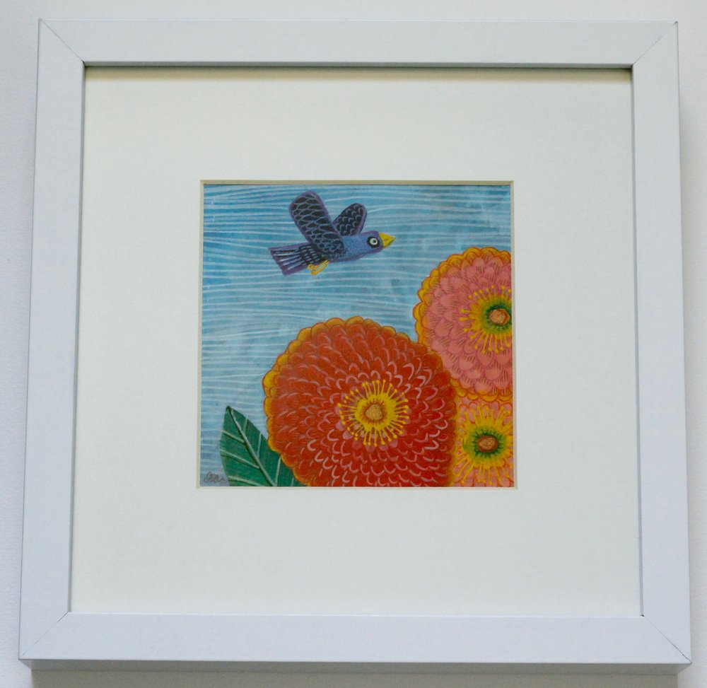 FLOWERS + Bird 2 - 12x12cm gouache and pencil on paper €45SOLD