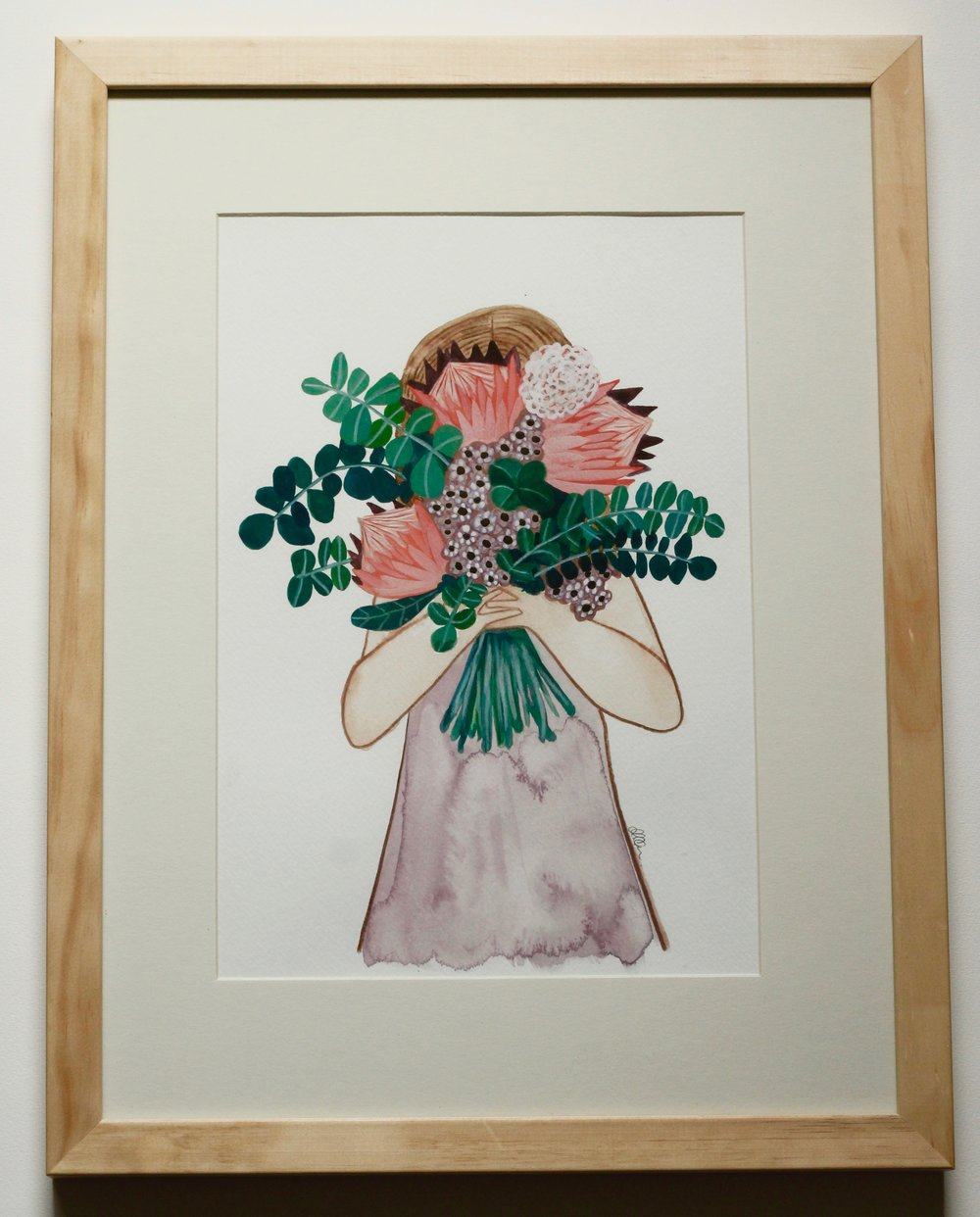 BOUQUET + GIRL - 20x30cm gouache and pencil on paper €120SOLD