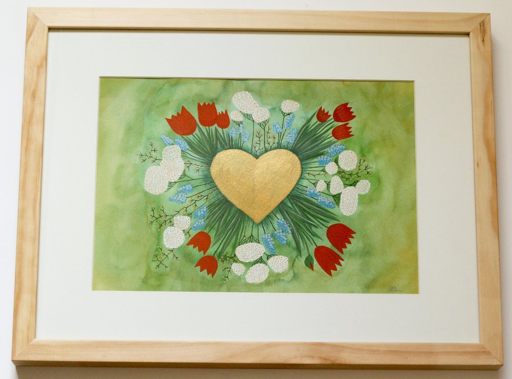 Golden Heart - 20x30cm gouache and pencil on paper €80SOLD