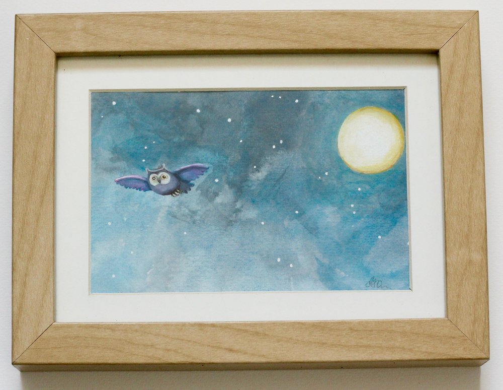 Owl + Moon - 14x9cm gouache on paper €35SOLD