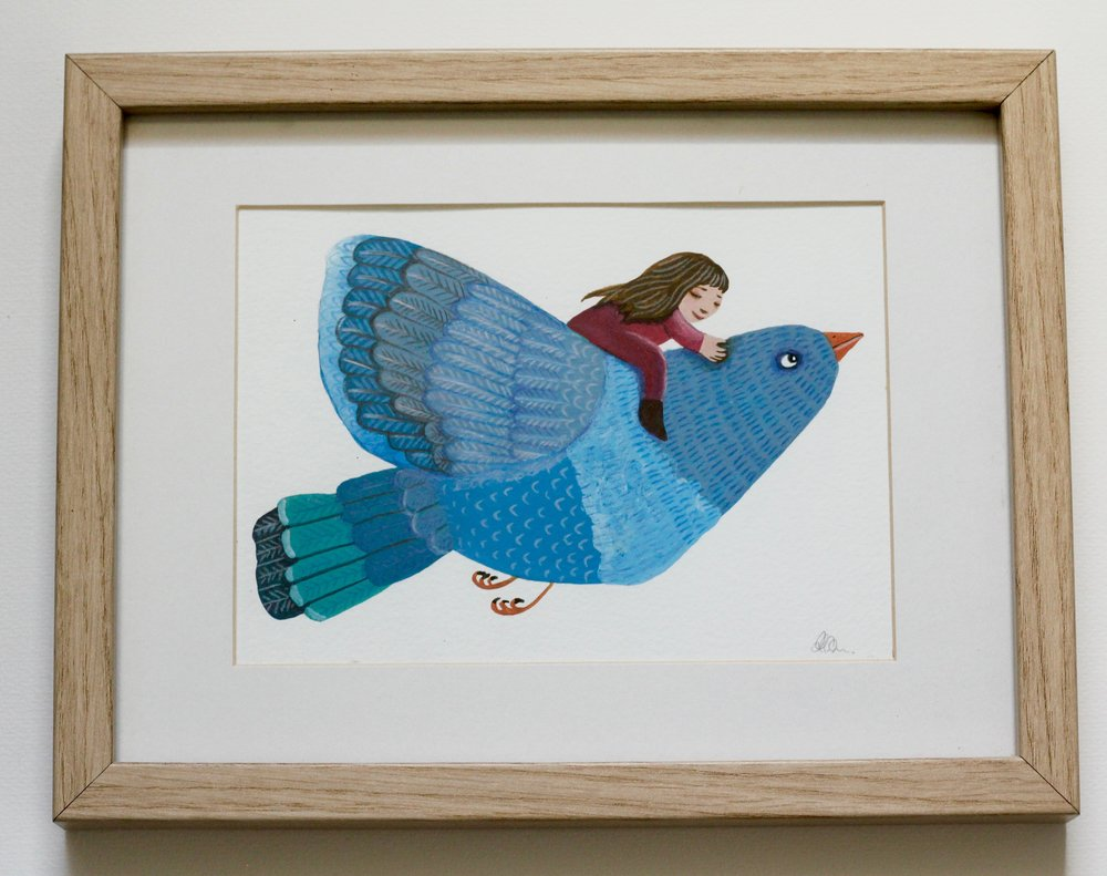 Blue Bird - 12x17cm gouache and pencil on paper €60SOLD
