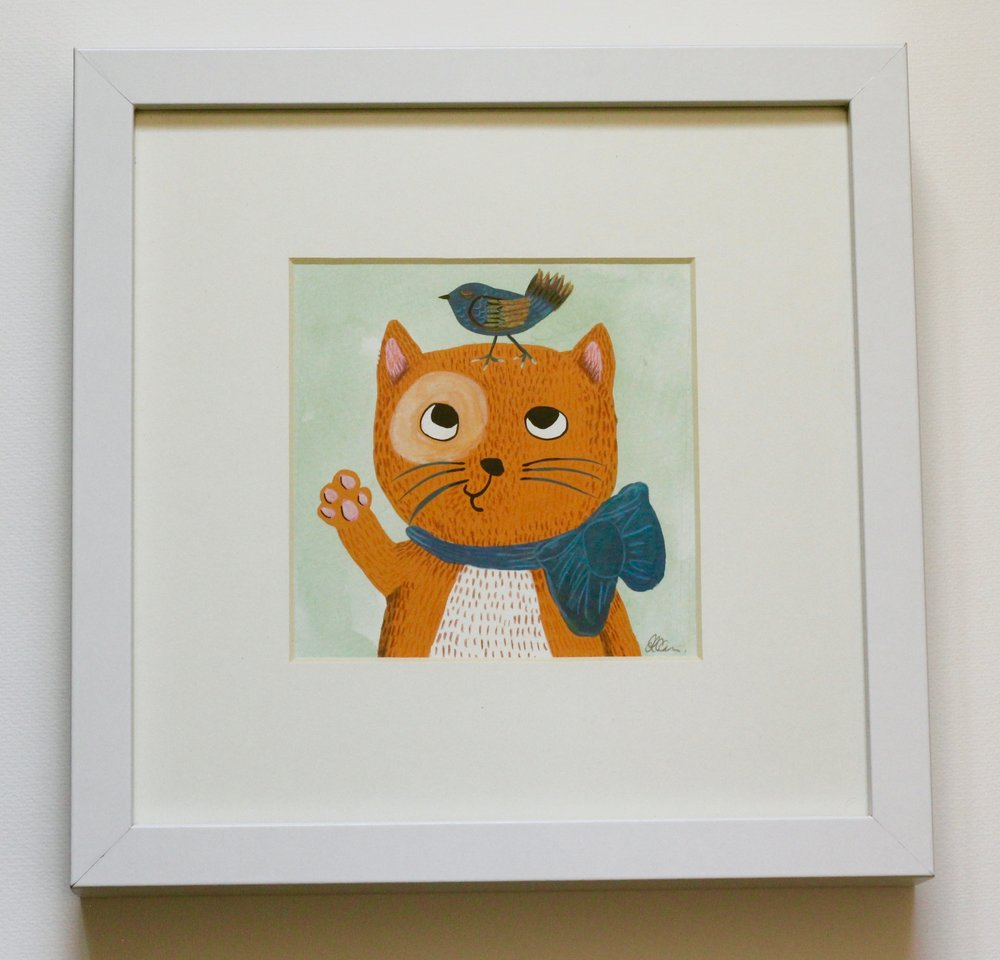 Cat - 12x12cm gouache and pencil on paper €50SOLD