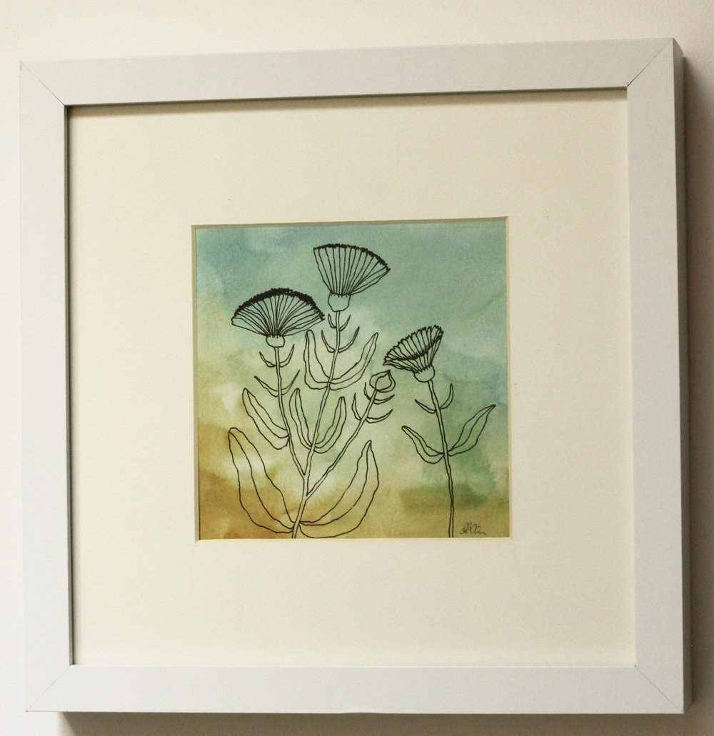 Calendula 2 - 12x12cm gouache and ink on paper €35SOLD - (not paid) Alexandra