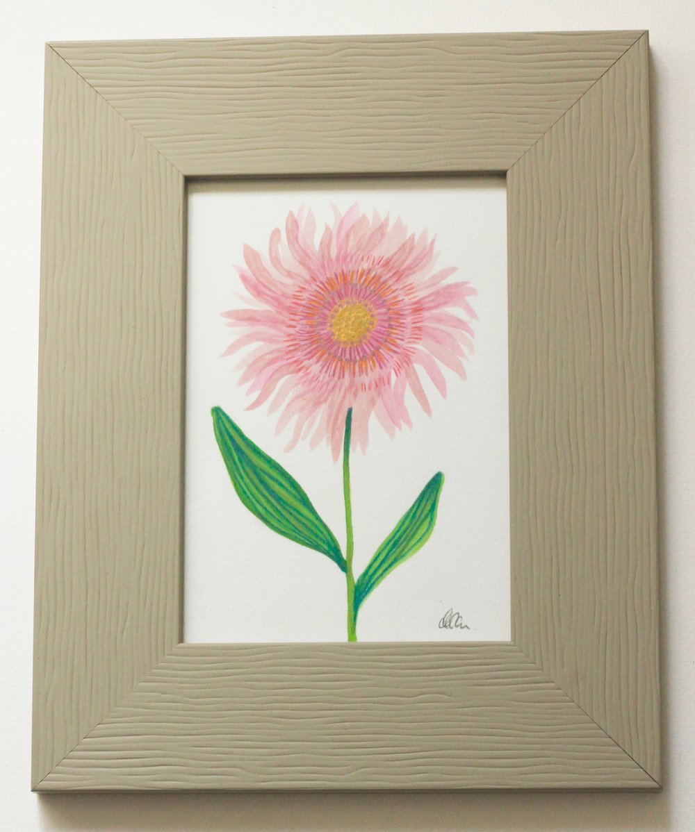 Flower Stone frame - 9x14cm gouache and pencil on paper €35