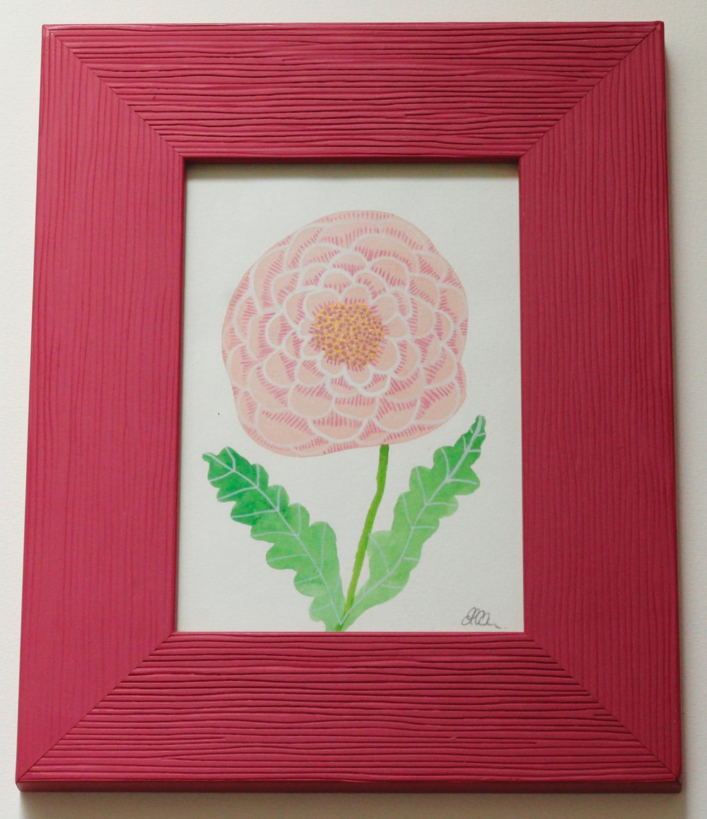 Flower Pink Frame - 9x14cm gouache and pencil on paper €35