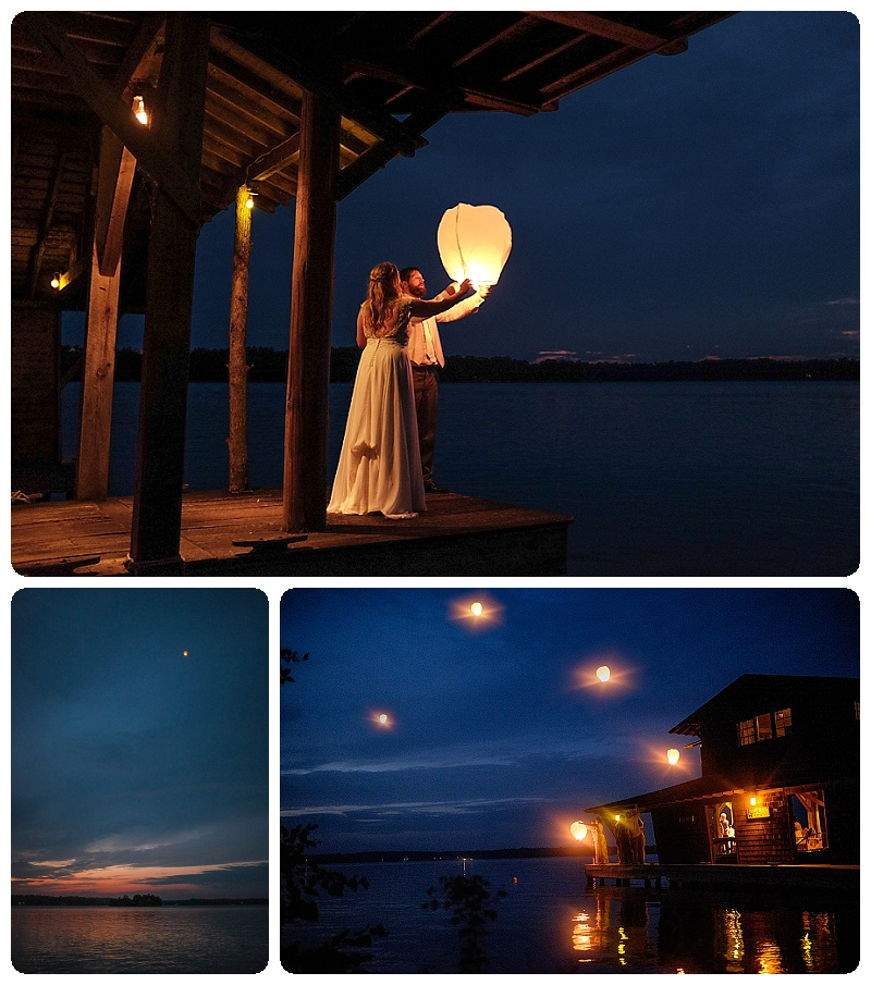 Stout's Island Lodge Wedding. Lantern release from the boathouse.