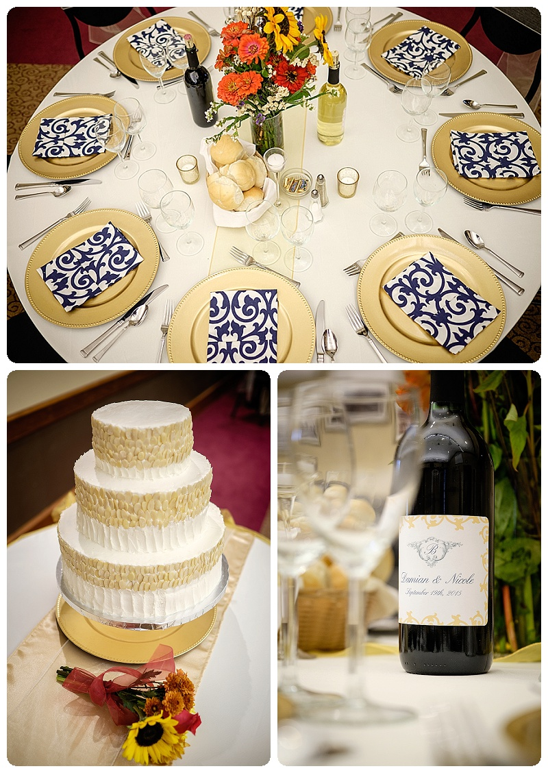 We loved the navy and gold wedding colors and custom labels on the wine bottles.