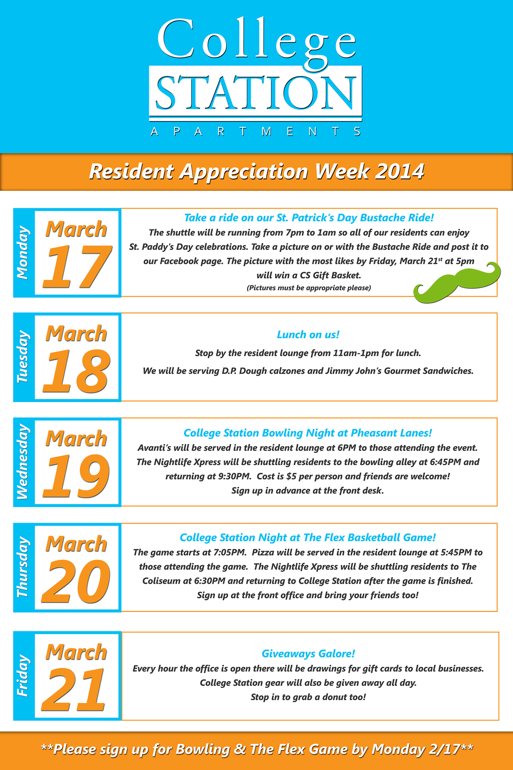 Resident Appreciation Week March 17 21 2014 College Station Apartments Student