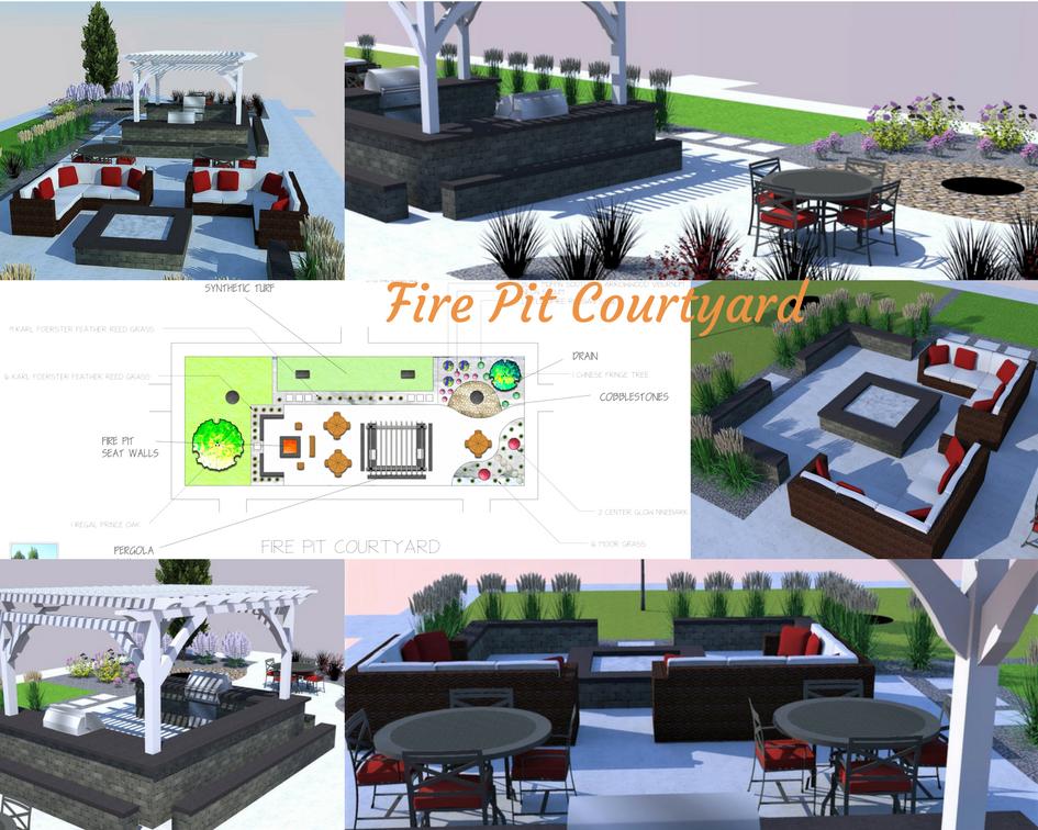 Outdoor Fire Pit Courtyard with outdoor gas grills, fire pit and seating