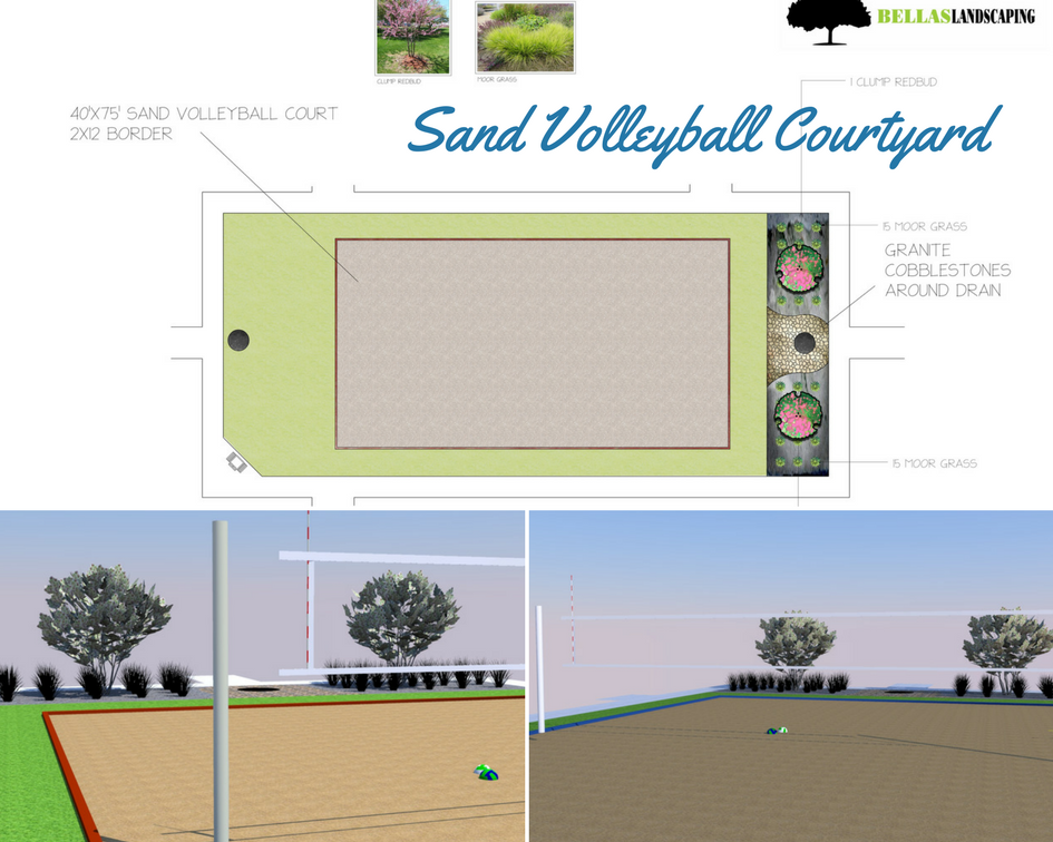 League sized Sand Volleyball Courtyard with new sand and landscaping