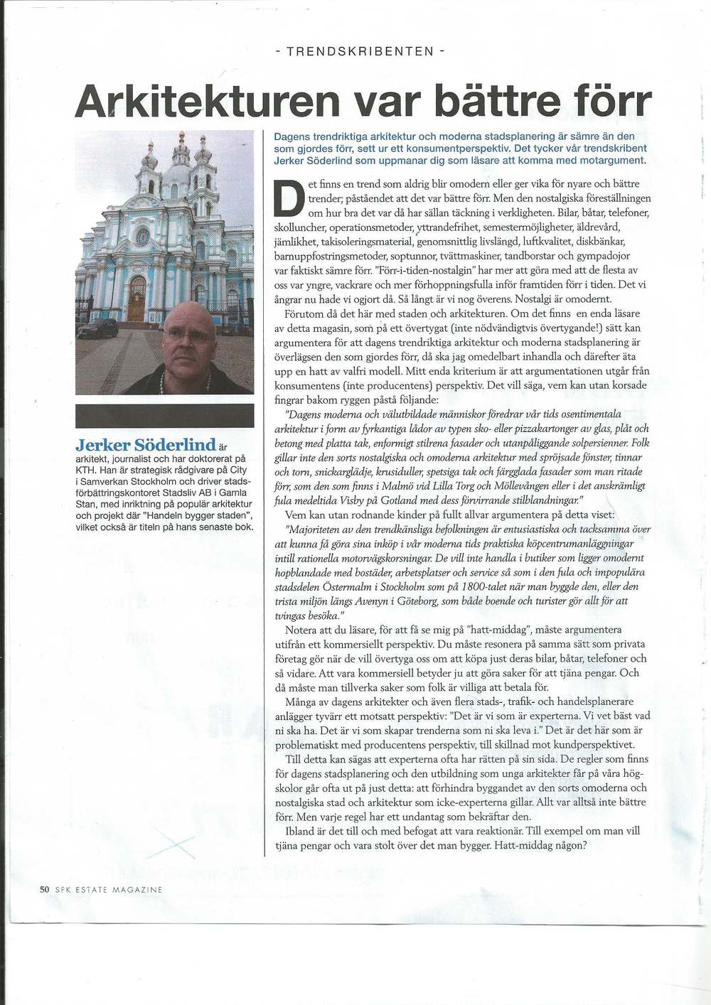 Artikel 2 Arkitekturen var bättre förr, Trendsskribenten, 2013.jpg