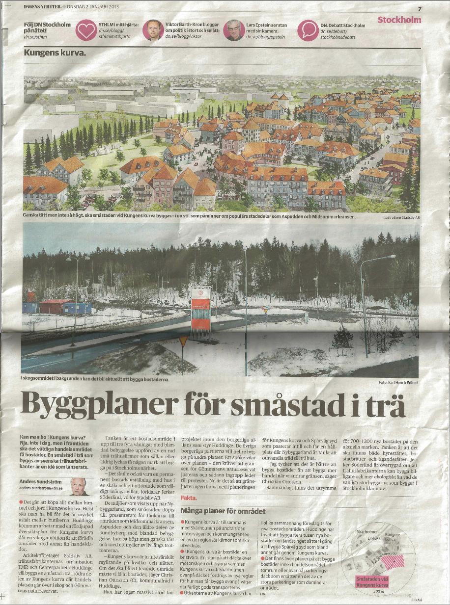 Artikel 1 Byggplaner för småstad i trä, DN, 2013 .png