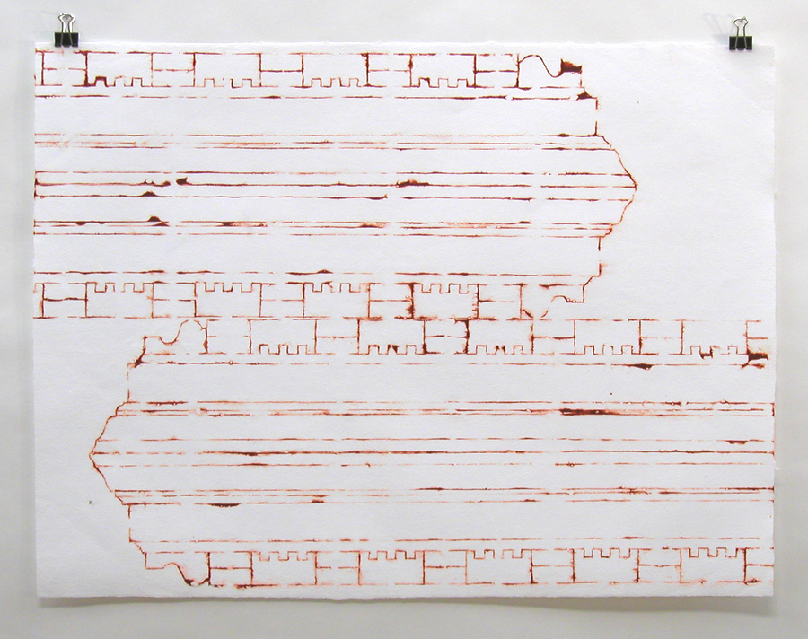 "Cornice Molding Stencil, Reflected 2005 18"" x 24"""