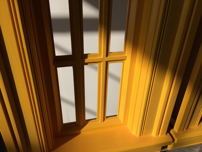 "Noah Loesberg Four Windows, One Door, 2015-16 Painted wood 144"" x 96"" x 8"" (3.66m x 2.4m x 20cm) Detail"