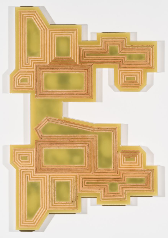 """Bottle Mold #6"" 32-3/8"" x 21-3/8"" x 1-7/8"" deep, wood and polyurethane resin, 2017."
