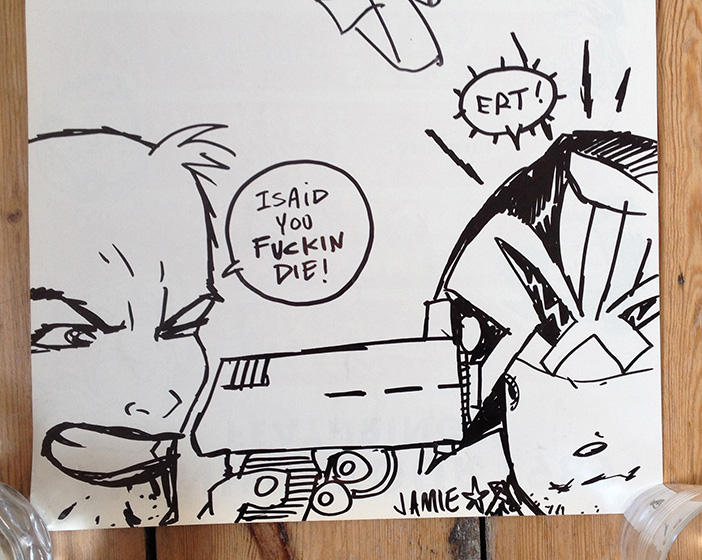 Tank Girl vs Judge Dredd, original artwork by Jamie Hewitt.