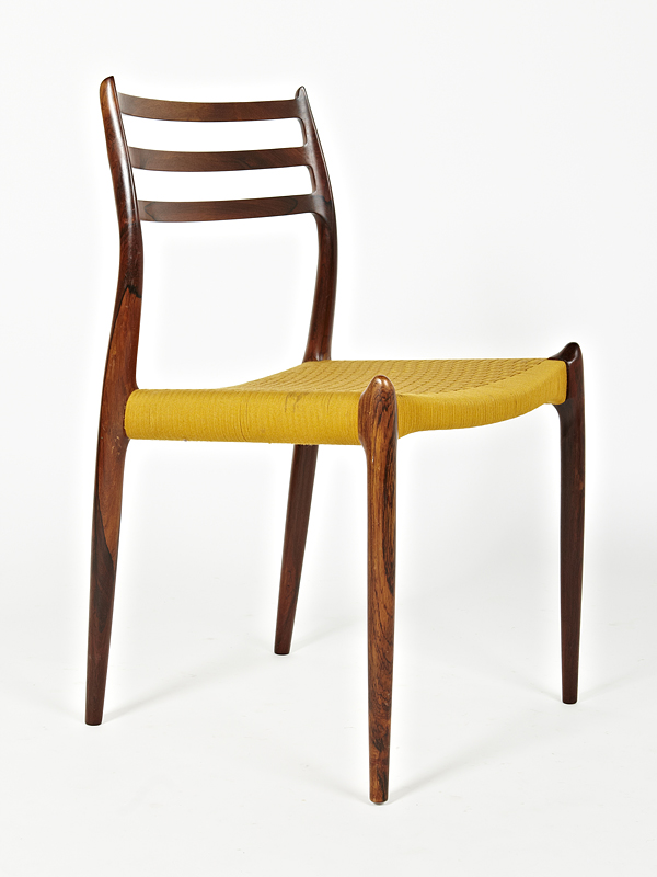 N O Moller 1962 Dining Chair Set in Original Yellow Cord • made 1962-69 •
