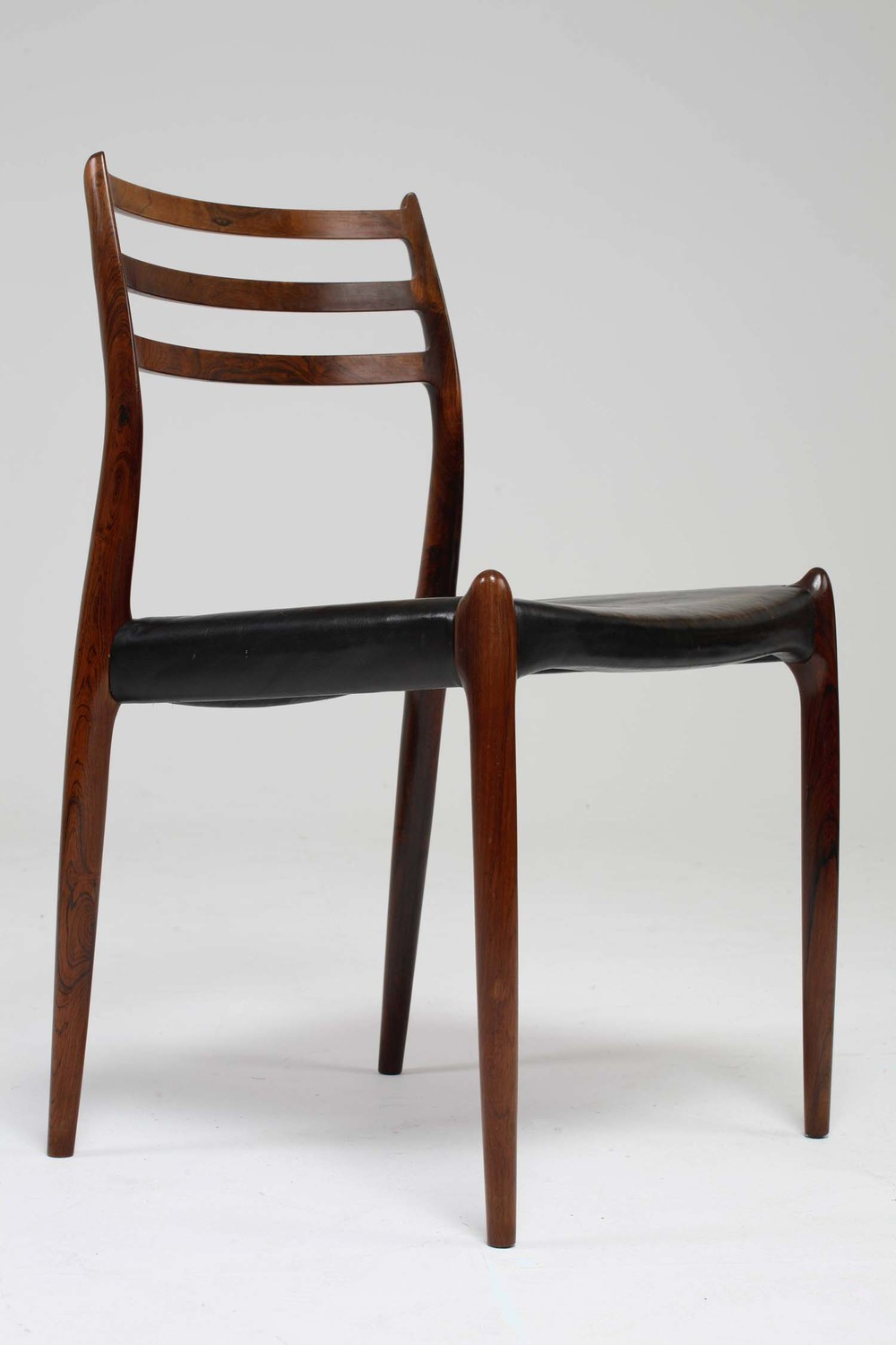 N O Moller 1962 Dining Chair Set in Original Black Leather  • made 1962-69 •