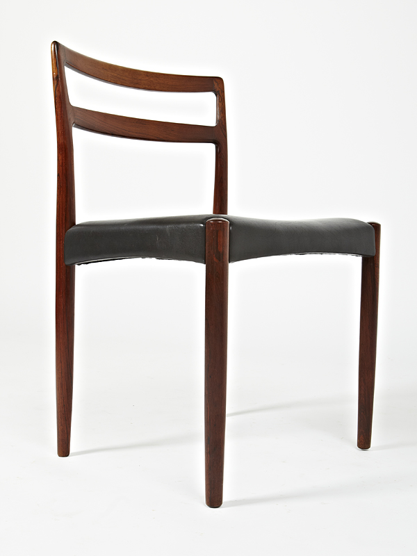 H Ostergaard 1960 Fixed Seat Dining Chair Set in Original Black Leather • made 1960-69 •