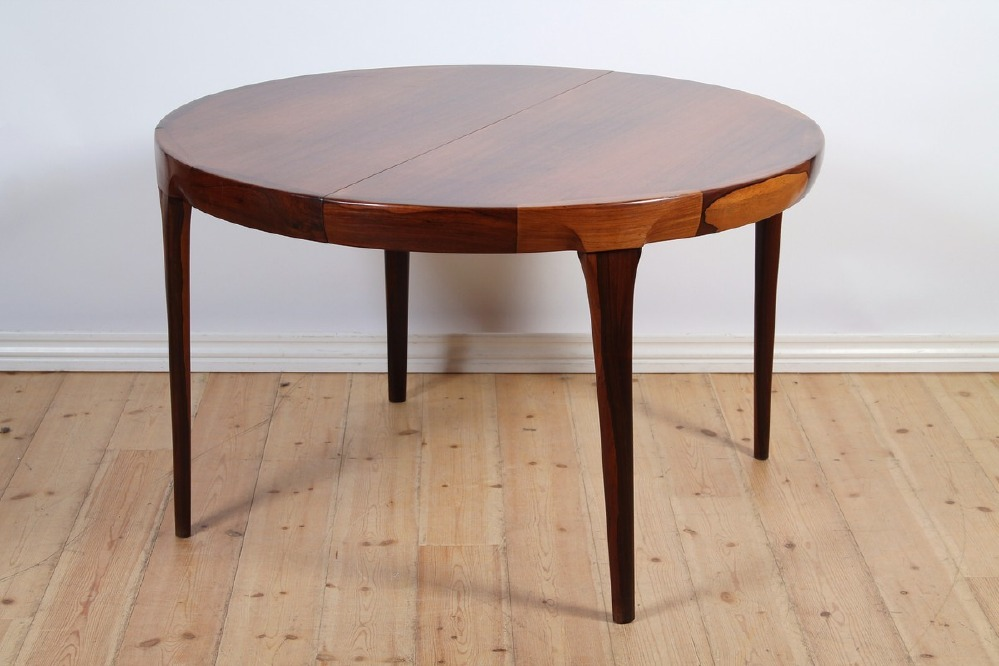 I K Larsen 1964 Dining Table with 3 Extension Leaves • made 1964-69 •