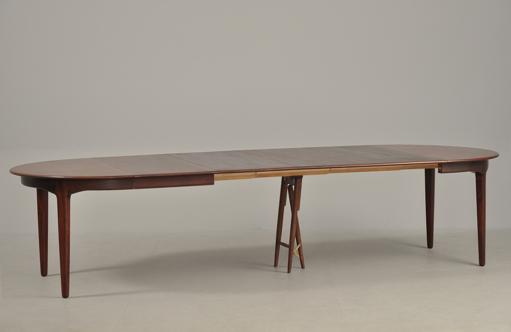 H Kjaernulf 1958 Dining Table with 4 Extension Leaves • made 1958-69 •