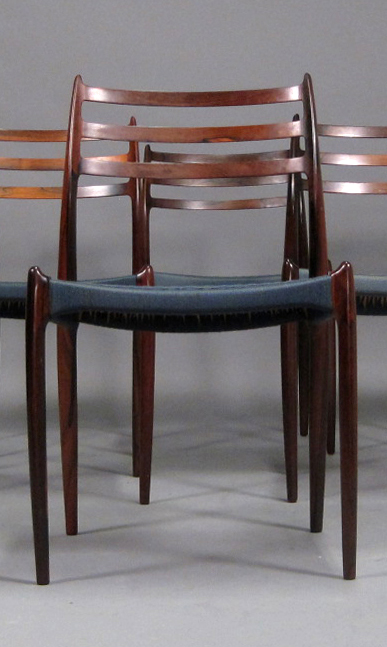 N O Moller 1962 Dining Chair Set in Original Blue Cord • made 1962-69 •