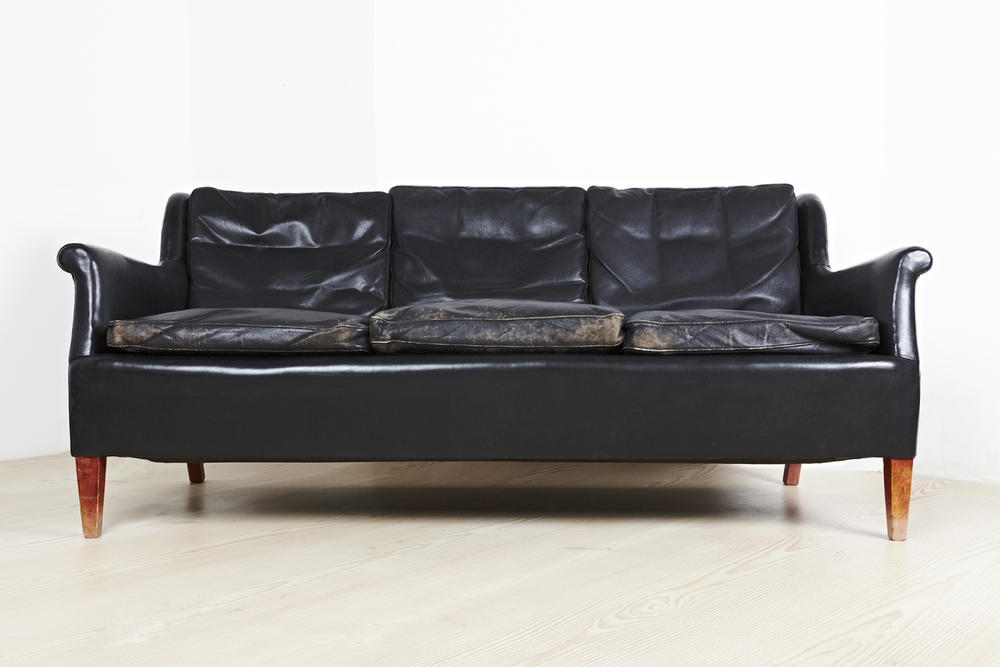 F Henningsen Sofas in Original Black Leather • made 1940-49 •