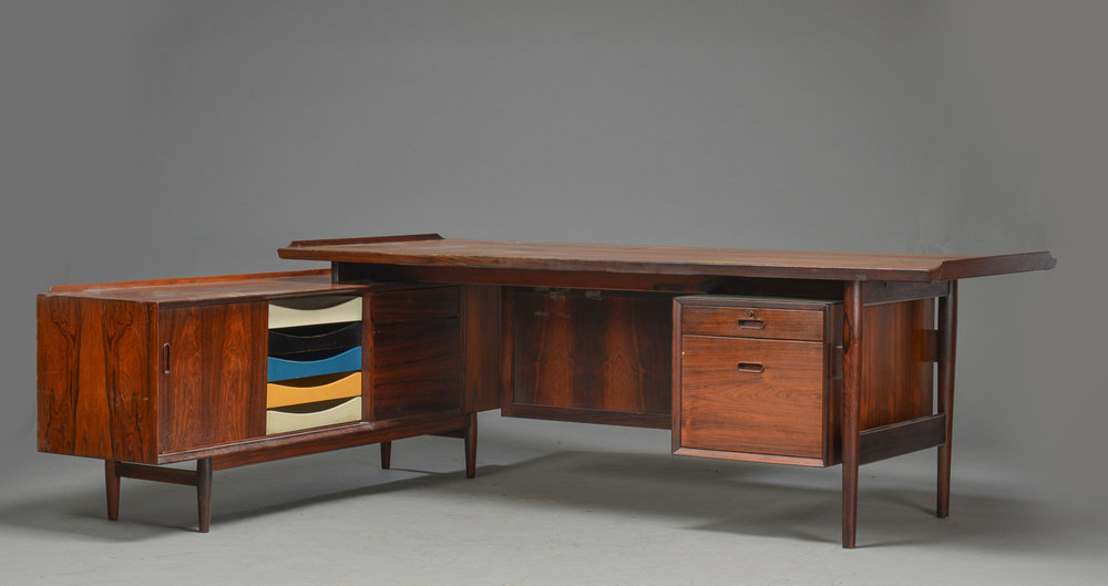 Arne Vodder rosewood desk with sideboard • made 1960s •