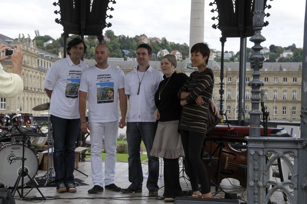 Mit Antoine Fillon, Joel Locher, Andreas Francke und Gee Hye Lee, Pavillon am Schlossplatz Stuttgart, August 2010