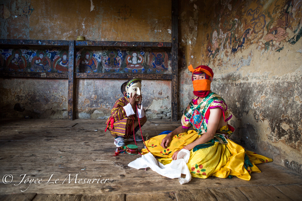 Bhutanese Masked Boy and Dancer