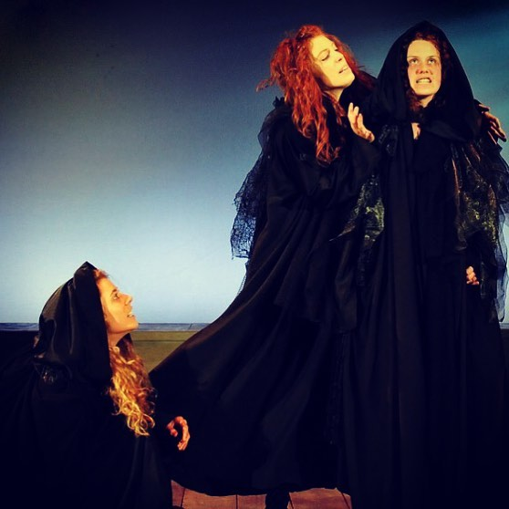 "Sarah (far right) as a scary witch.  A, uh, ""Scarah"", if you will."