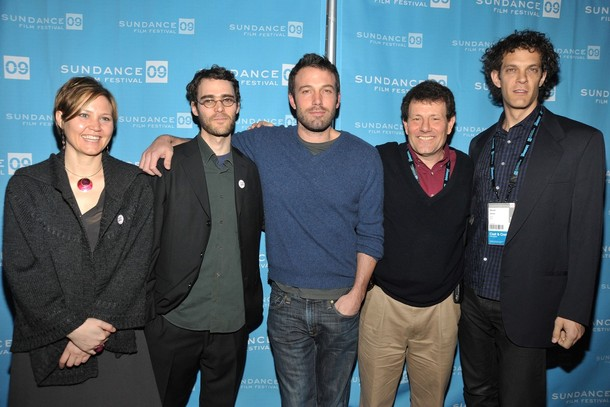 At the Sundance Film Festival premiere of REPORTER with (L to R) producer Mikaela Beardsley, director EDM, executive producer Ben Affleck, subject Nick Kristof, producer Steven Cantor