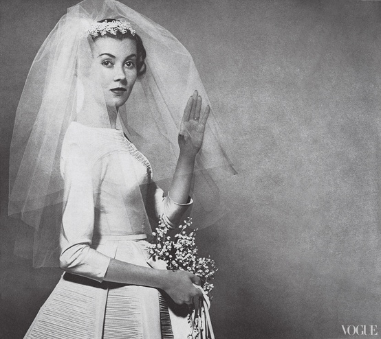 A wedding dress created for Saks Fifth Avenue by Sophie Gimbel.
