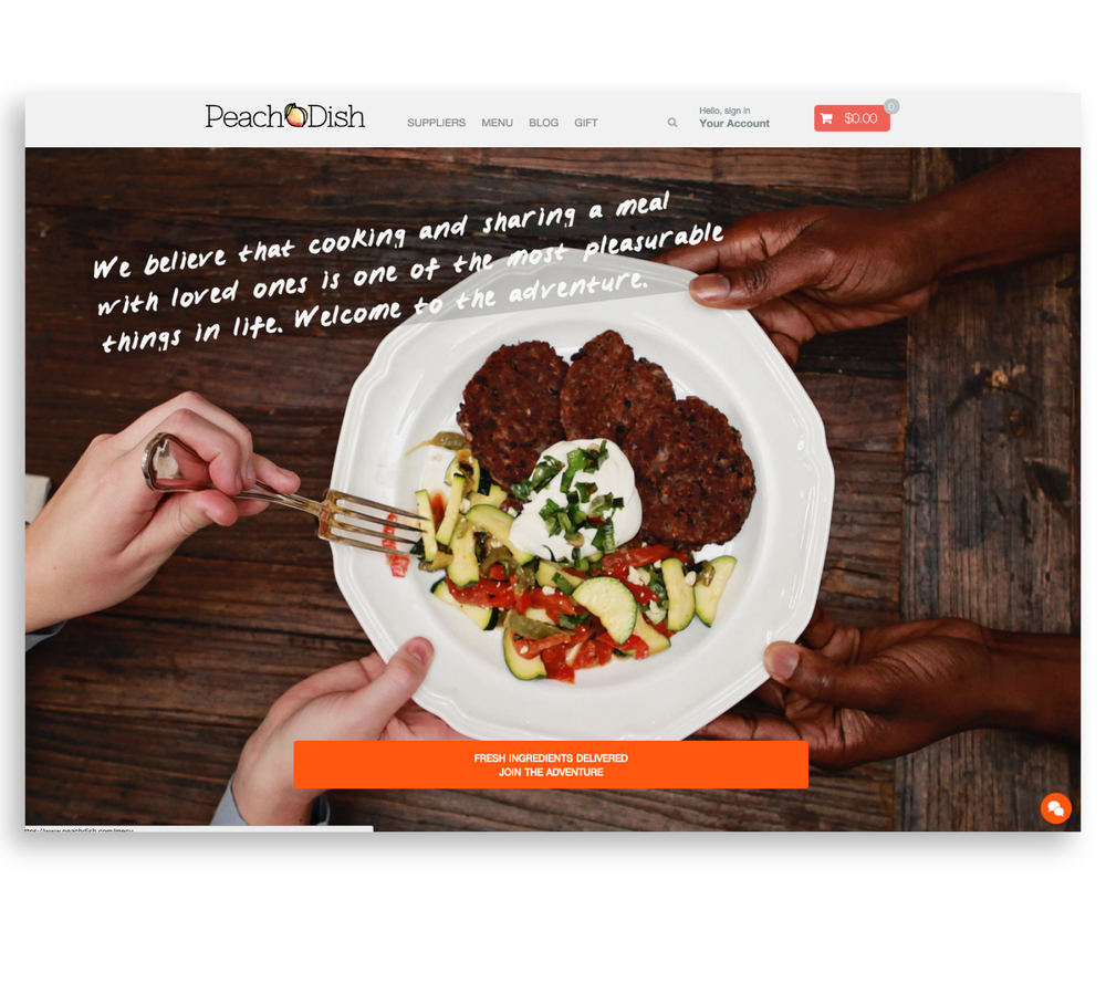 PeachDish website landing page