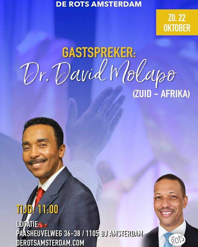 Aankomende zondag zal Dr. David Molapo in ons midden zijn. Zien je om 11:00 uur!