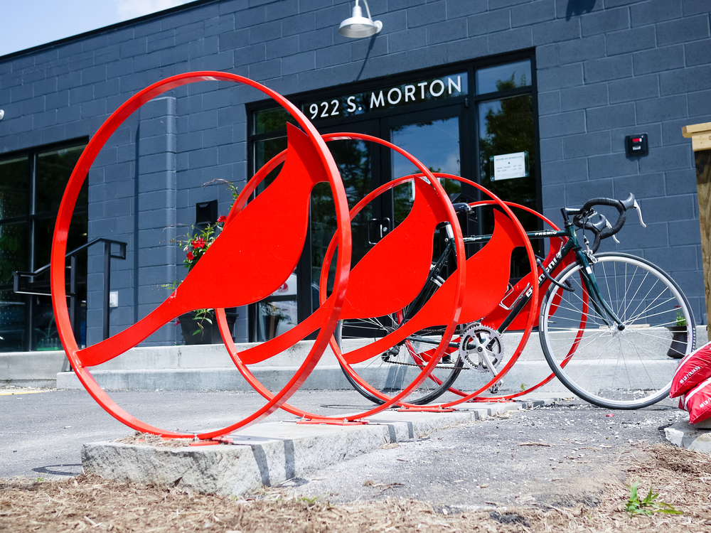 Cardinal bike racks and hand rails by Clutch.