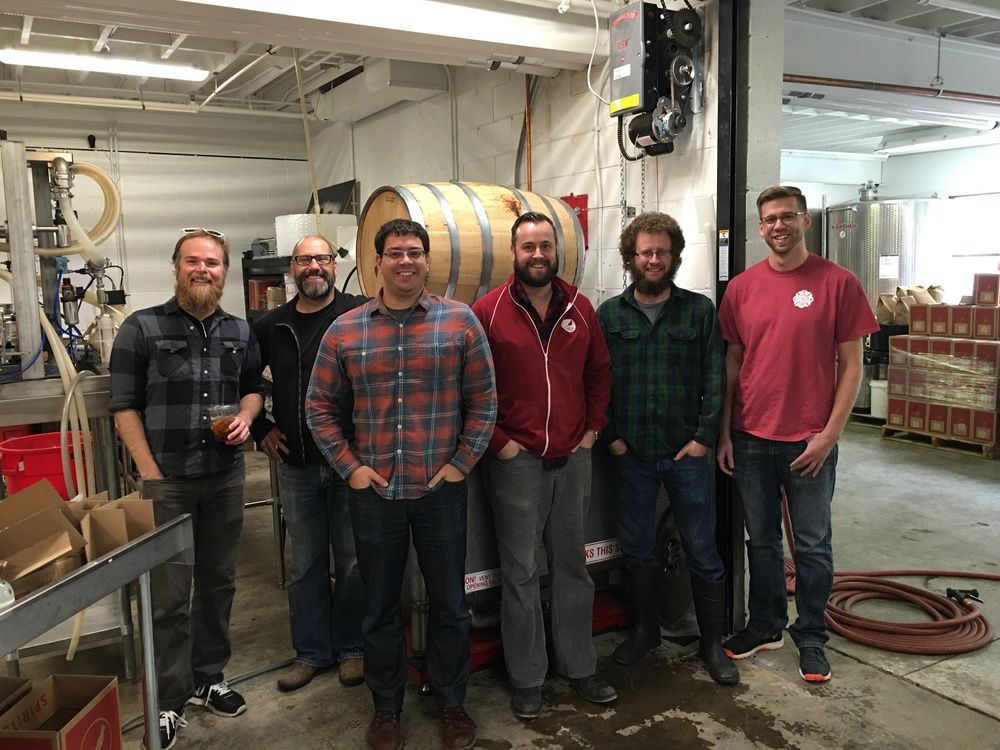 Jason, Doug, Jeff, Adam, Justin and Rob. Happy faces after a couple of stressful minutes of emptying the whiskey barrel.