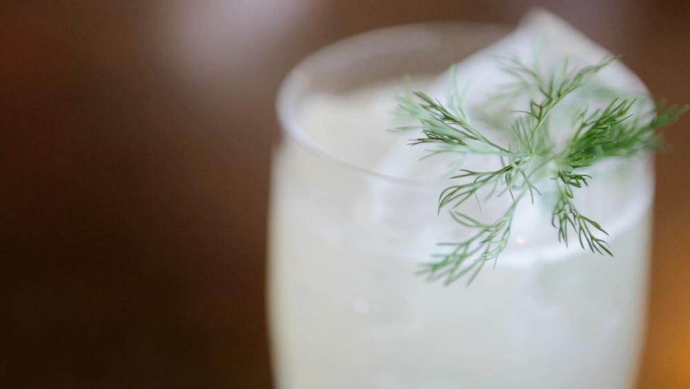 McDOEL GARDENS: Cardinal Spirits Tiki Rum, dill, cucumber