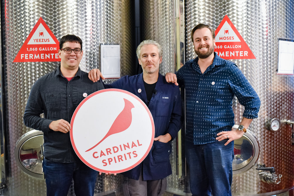 Lior Lev Sercarz (center) with Cardinal Spirits co-founders Jeff Wuslich (L) and Adam Quirk (R), at Cardinal Spirits