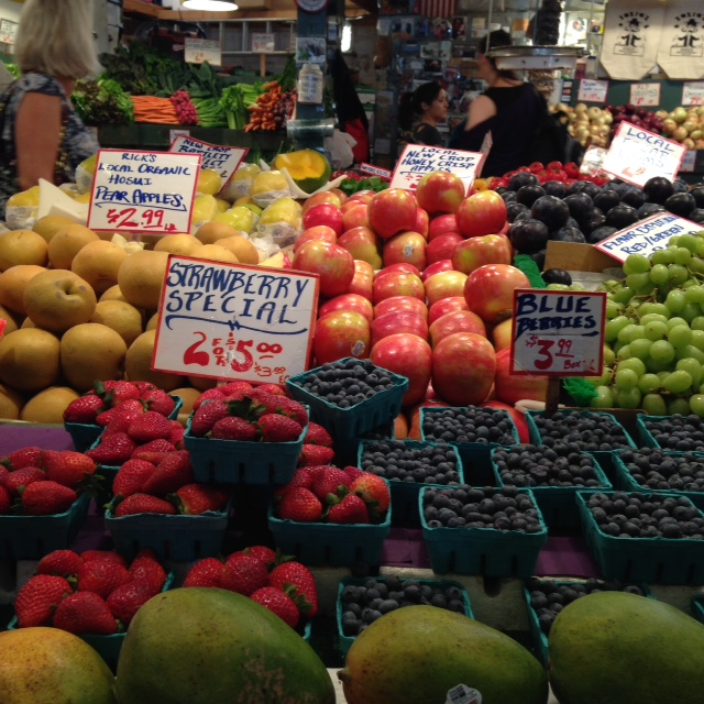 Giant fruits and veggies at Pike Place