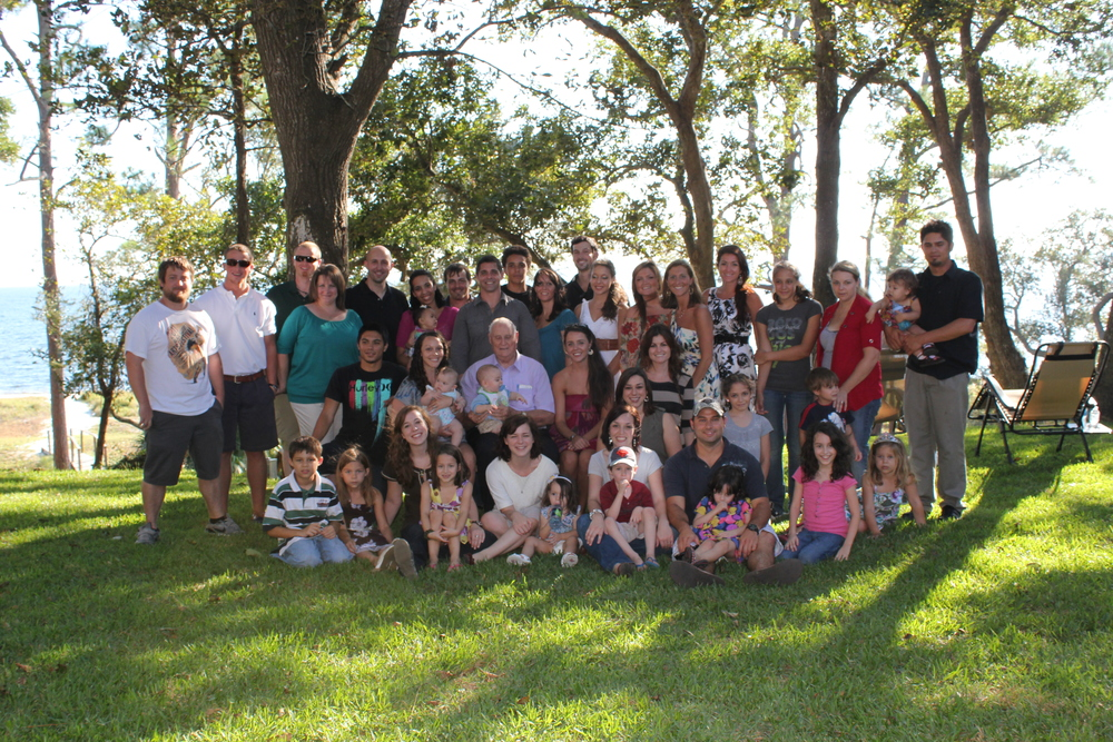 A lot  (but not all)  of the Sansom family at Papa's 80th birthday party a few years ago!