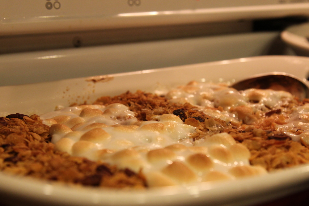Sweet Potato Casserole - with perfectly browned marshmellows