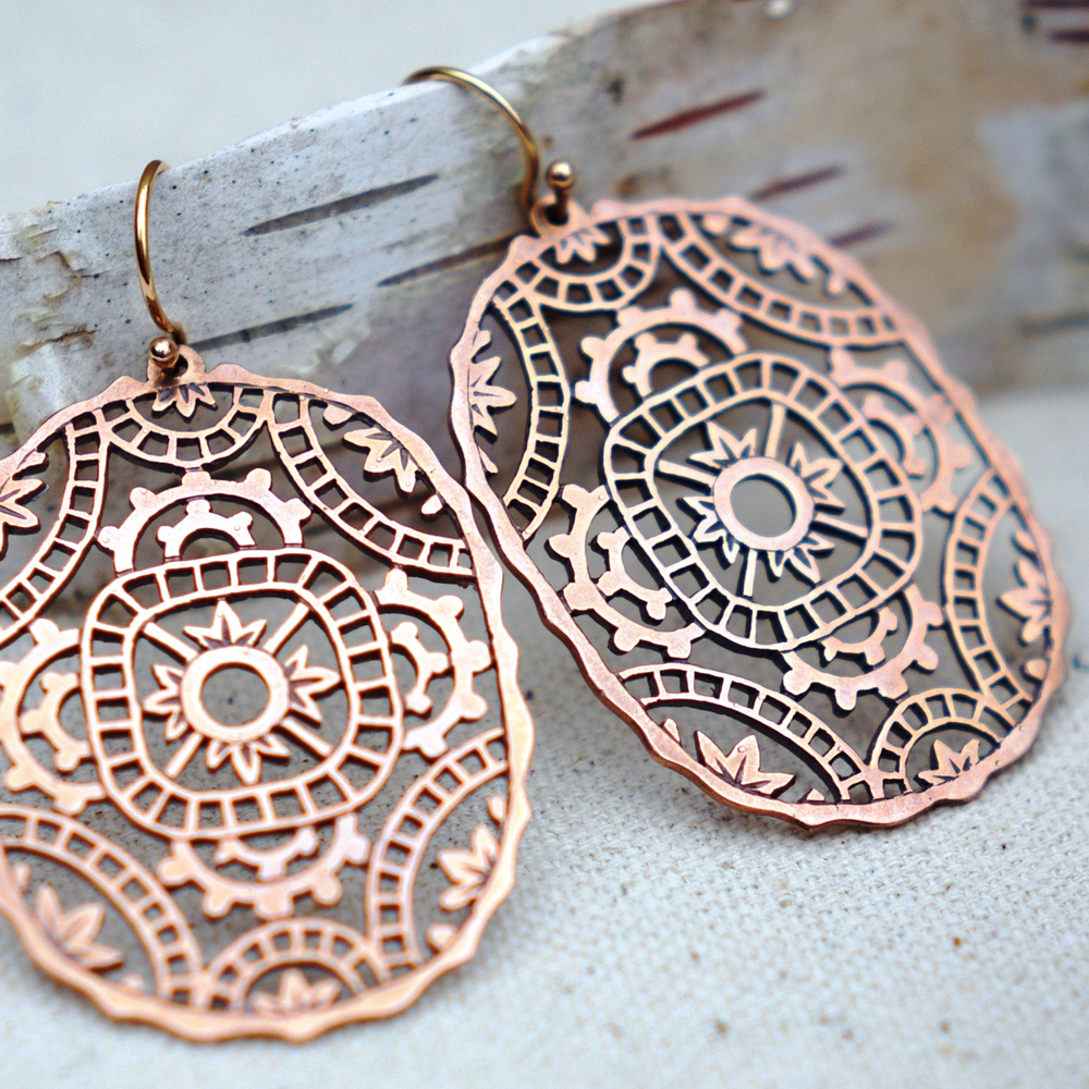 MHOS - Lace Pattern Rose Gold EarringsA.jpg