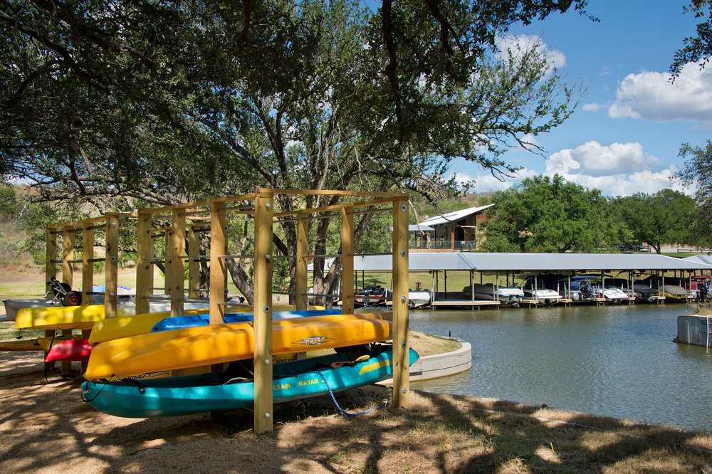 Kayak and Paddle Board Storage at the Marina at Trails of Horseshoe Bay