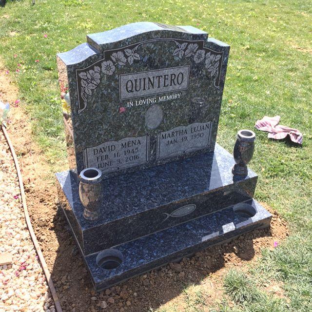 Custom monument #bluepearl #granite #bluepearlgranite #customshape #frostedpanels #allpolish #mirrorfinish #vase #vases #metalinserts #base #subbase #tablet #hollister #ca #california #calvary #cemetery